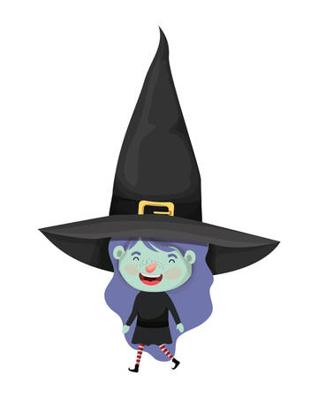 cute little girl with witch costume vector illustration design Ilustração