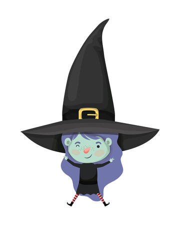 cute little girl with witch costume vector illustration design 일러스트