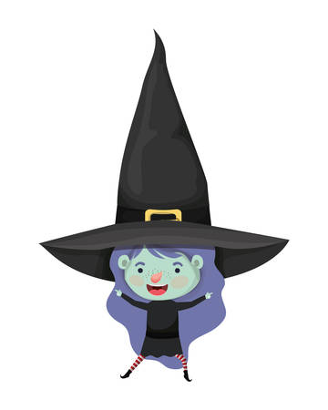 cute little girl with witch costume vector illustration design 스톡 콘텐츠 - 129932323