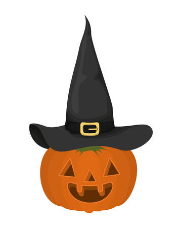 halloween pumpkin with witch hat vector illustration design Ilustração