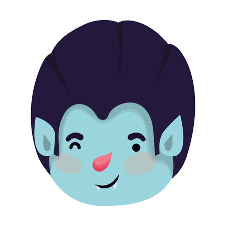 cute little boy head with dracula costume vector illustration design Ilustração