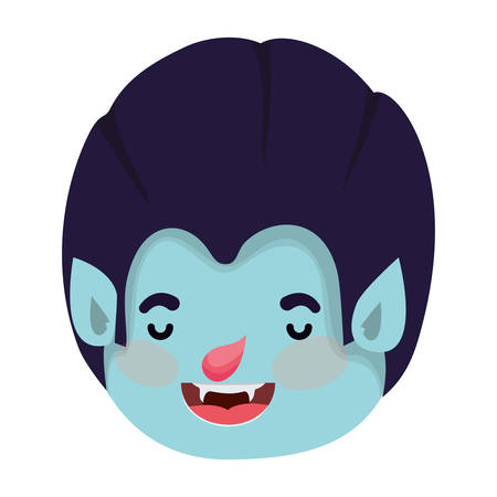 cute little boy head with dracula costume vector illustration design Illustration
