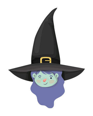 cute little girl head with witch costume vector illustration design