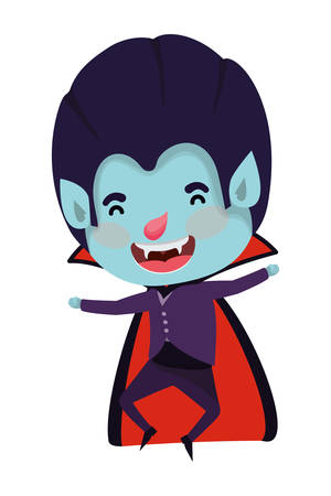 cute little boy with dracula costume vector illustration design