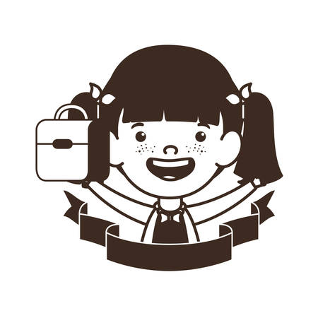 silhouette of student girl with school supplies vector illustration design