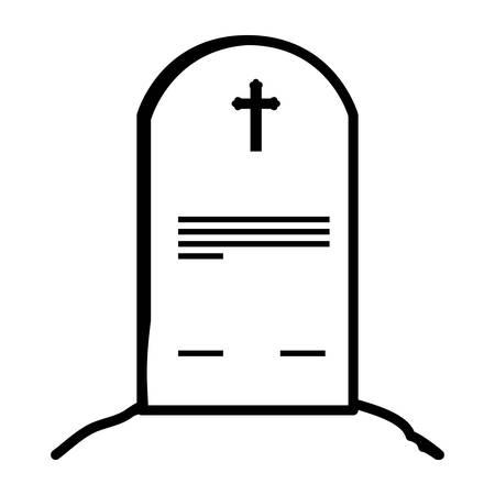 cemetery graveyard with cross vector illustration design Ilustracja