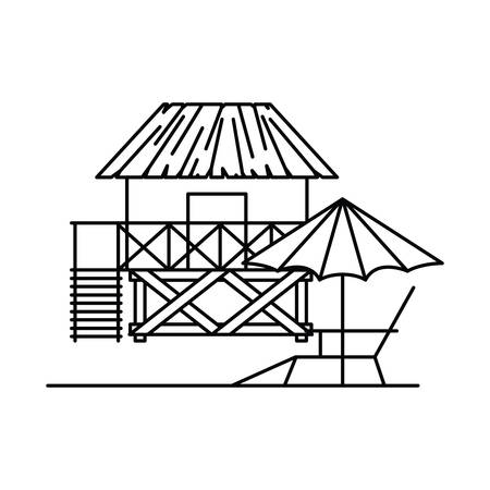 silhouette of house on the beach with white background vector illustration design Фото со стока - 129941047