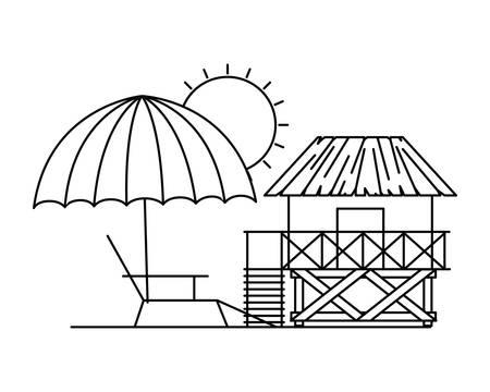 Silhouette des Holzhauses am Strand mit weißem Hintergrund Vektorgrafik