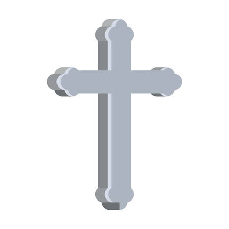 cemetery cross christianity isolated icon vector illustration design