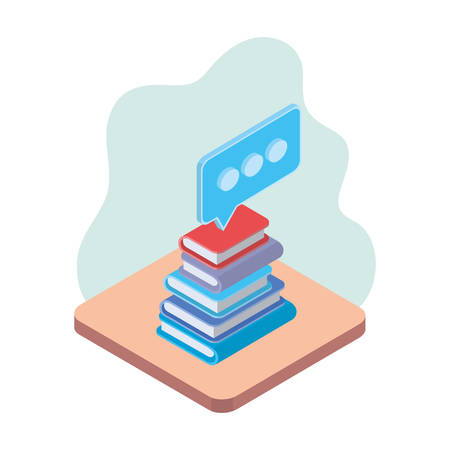 stack of books with speech bubble on white background vector illustration design Stock Illustratie