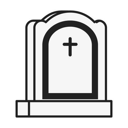 cemetery graveyard with cross vector illustration design
