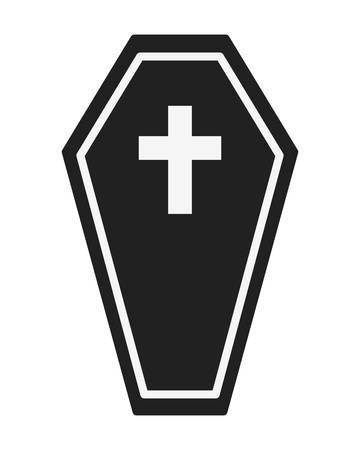 halloween wooden coffin with cross vector illustration design Ilustracja