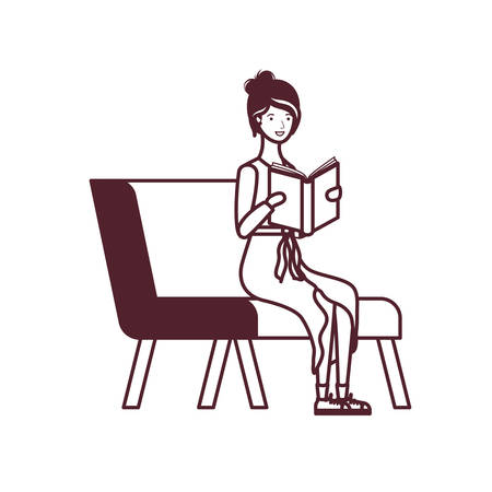 silhouette of woman sitting on chair with book in hands vector illustration design Ilustracja