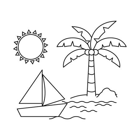 silhouette of sailboat on white background vector illustration design Ilustração