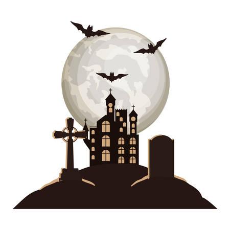 halloween bats flying with castle in cemetery night scene vector illustration Иллюстрация