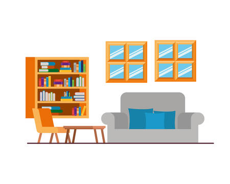 living room with couch and bookshelf of books vector illustration design