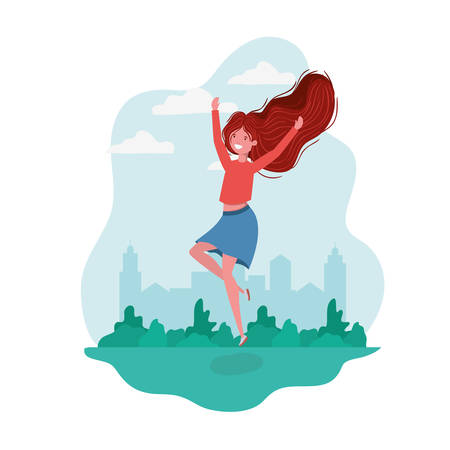 dancing woman in landscape of background vector illustration design