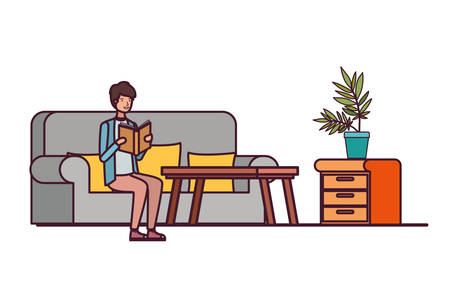 man with book in hands in living room vector illustration design  イラスト・ベクター素材