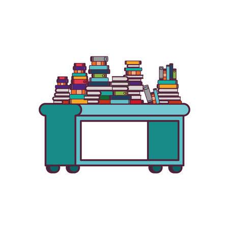 shelving with books in white background vector illustration desing Illustration