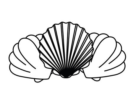 silhouette of cute seashell on the sea in white background vector illustration design Çizim