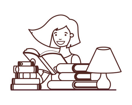 silhouette of student girl with reading book in the hands vector illustration design