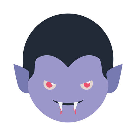 cute little boy head with dracula costume vector illustration design Иллюстрация
