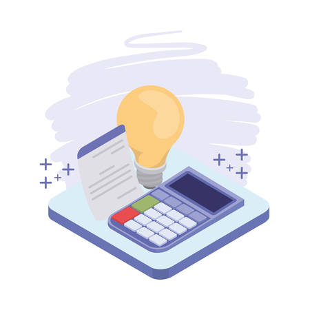 calculator with sheet of paper on white background vector illustration design Illustration