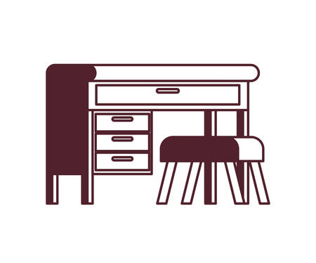 office desk with chair in white background vector illustration desing Иллюстрация