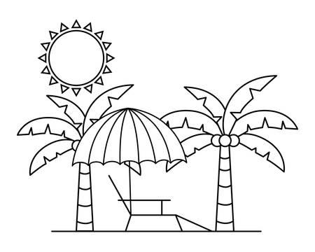 silhouette of beach umbrella for summer striped icon vector illustration design  イラスト・ベクター素材