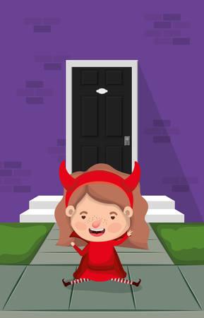 little girl with devil costume in house entrance character vector illustration design Иллюстрация