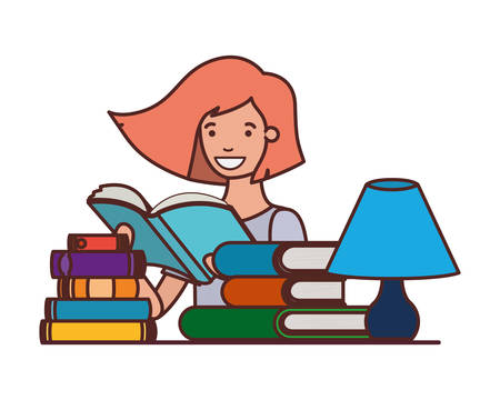 student girl with reading book in the hands vector illustration design  イラスト・ベクター素材
