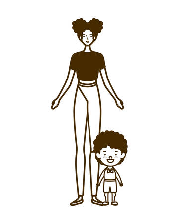 silhouette of woman with son of back to school vector illustration design Standard-Bild - 129951733