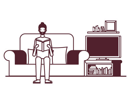 silhouette of man with book in hands in living room vector illustration design  イラスト・ベクター素材