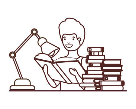 silhouette of student boy with reading book in the hands vector illustration design