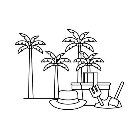 silhouette of straw picnic basket on white background vector illustration design