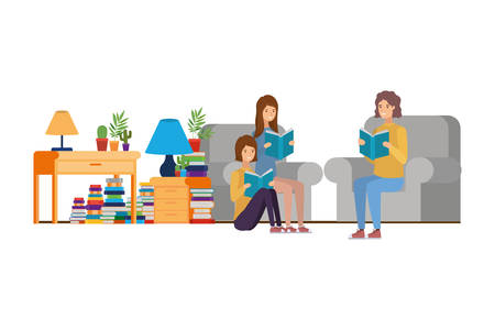 group of people with book in hands in living room vector illustration design
