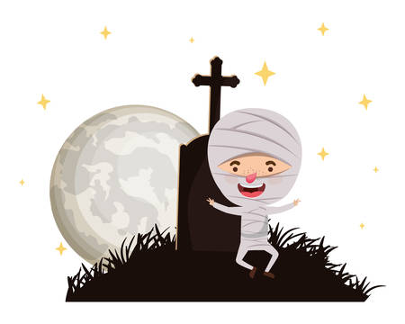 cute little boy with mummy costume in cemetery vector illustration design