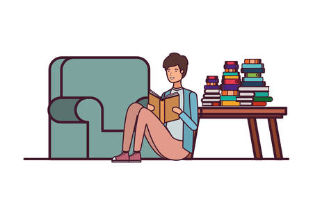man with book in hands in living room vector illustration design 向量圖像