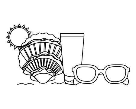silhouette of sunglasses on white background vector illustration design 写真素材 - 129992978