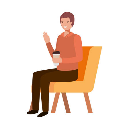 man sitting in chair with container plastic coffee on white background vector illustration design