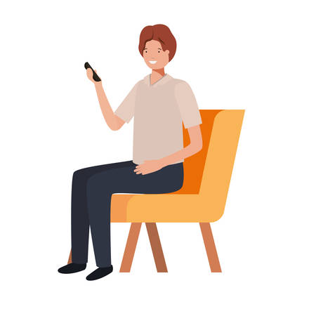 man sitting in chair with smartphone on white background vector illustration design Ilustracja