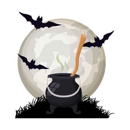 halloween bats flying with cauldron in night scene vector illustration design Иллюстрация