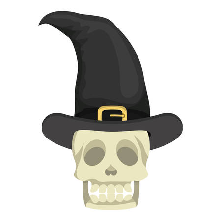 skull head with witch hat halloween vector illustration design