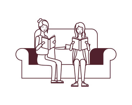 women sitting on chair with book in hands vector illustration design