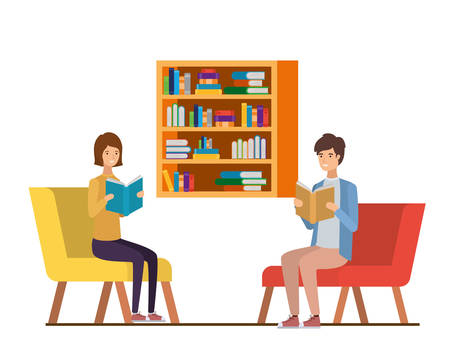 couple with book in hands in living room vector illustration design Stock Illustratie