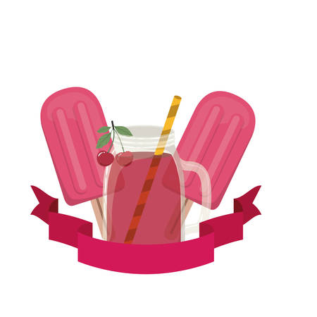 glass with cherry and straw drink vector illustration design