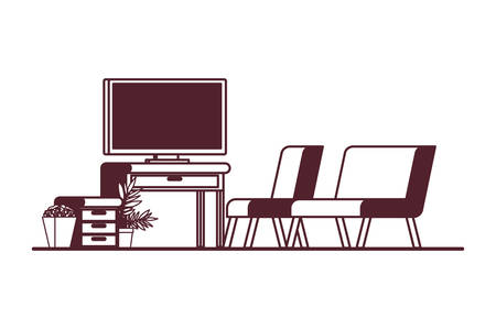 comfortable sofa in living room with plasma tv vector illustration design