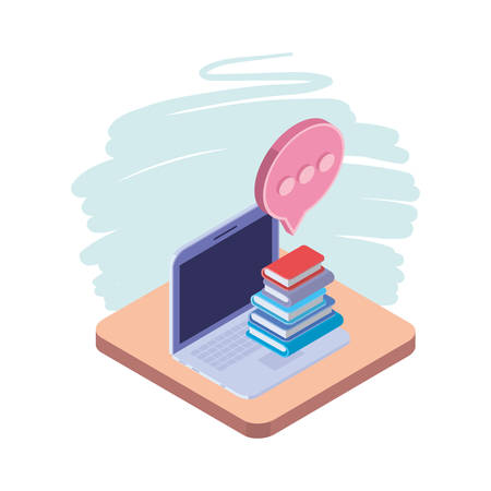 laptop with stack of books on white background vector illustration design