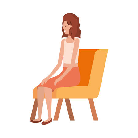 young woman sitting in chair with white background vector illustration design