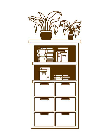 silhouette of bookshelf with school books vector illustration design Stock Illustratie